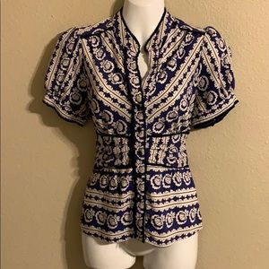 Anthropologie Fei blue silk fitted top size 6